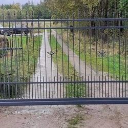 metalowa brama wjazdowa grafitowa